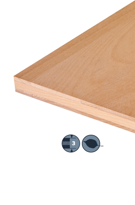 TILLY Three-layer hardwood panel: Beech steamed