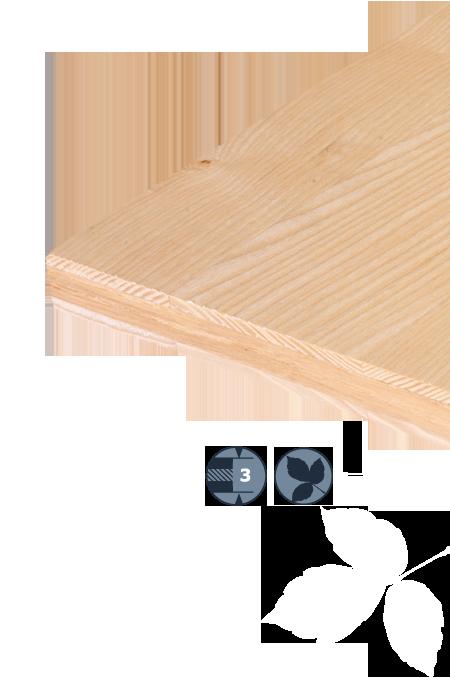 TILLY Drielagen-loofhoutplaat: Essenhout