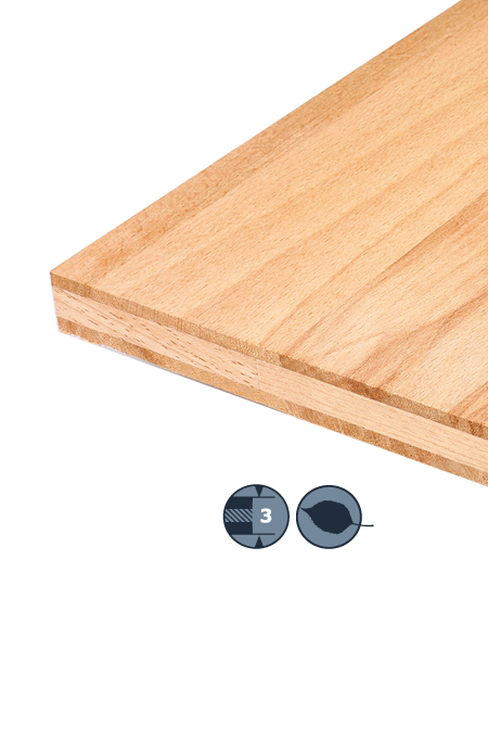 TILLY Three-layer hardwood panel: Steamed beech heartwood