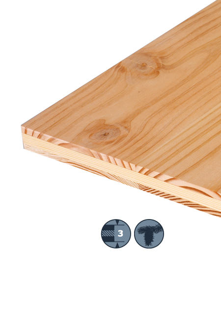 TILLY Three-layer soft wood panel: Douglas fir
