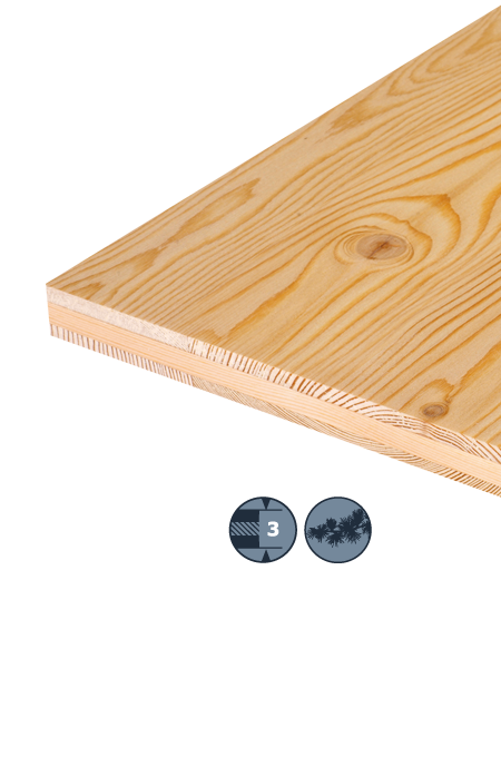 TILLY Three-layer soft wood panel: Larch